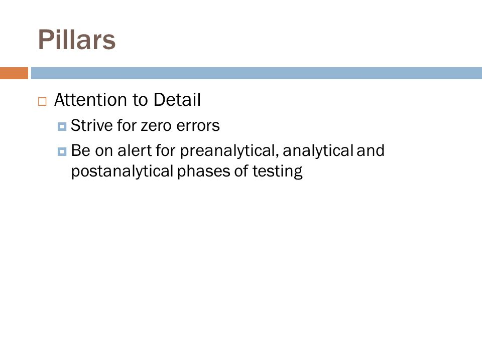 Pillars Attention to Detail Strive for zero errors