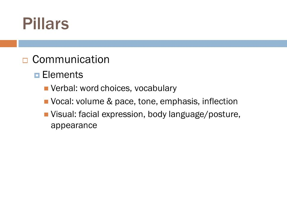 Pillars Communication Elements Verbal: word choices, vocabulary