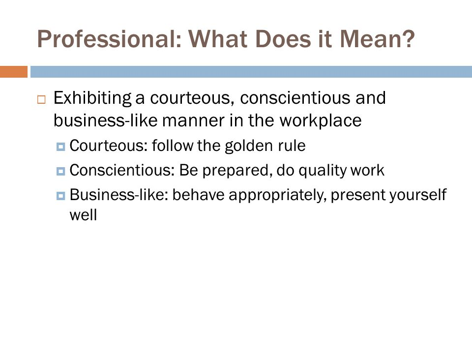 Professional: What Does it Mean