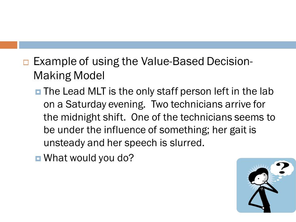 Example of using the Value-Based Decision- Making Model