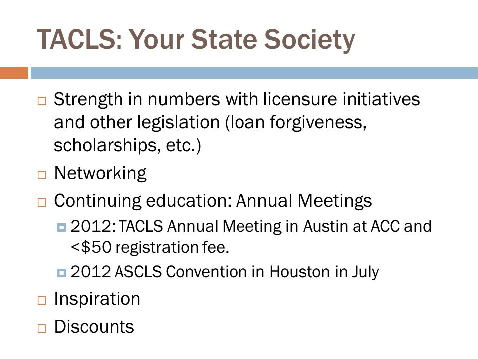 TACLS: Your State Society