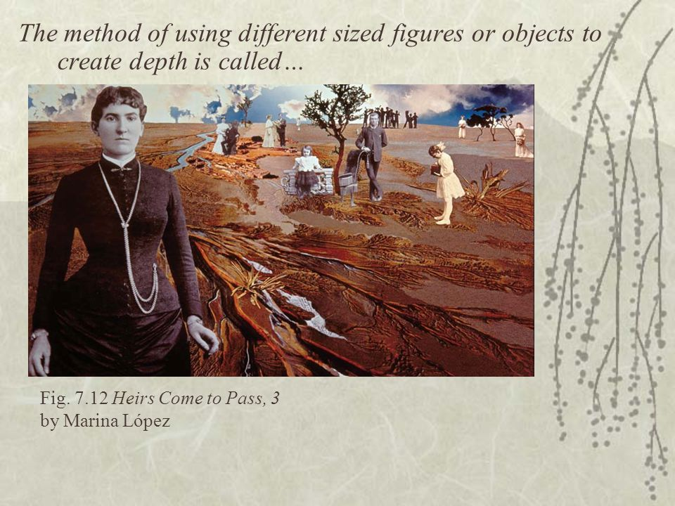 The method of using different sized figures or objects to create depth is called…