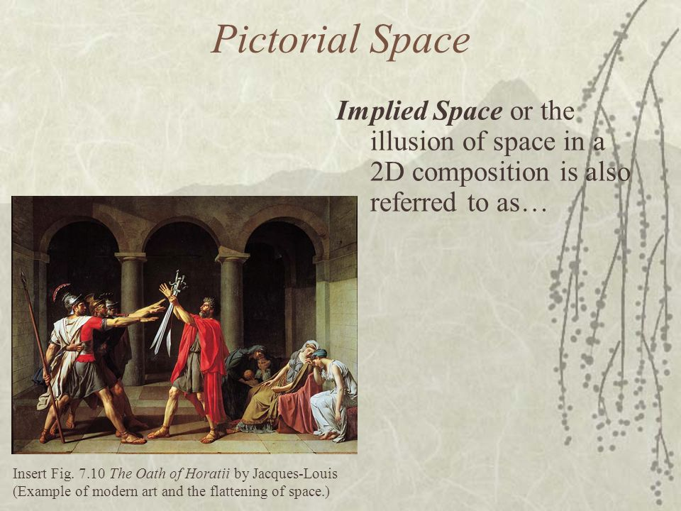 Pictorial Space Implied Space or the illusion of space in a 2D composition is also referred to as…
