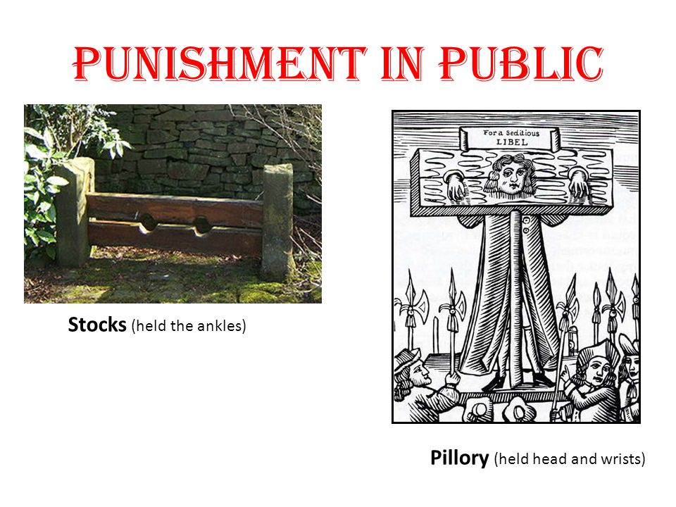 Punishment in public Stocks (held the ankles)