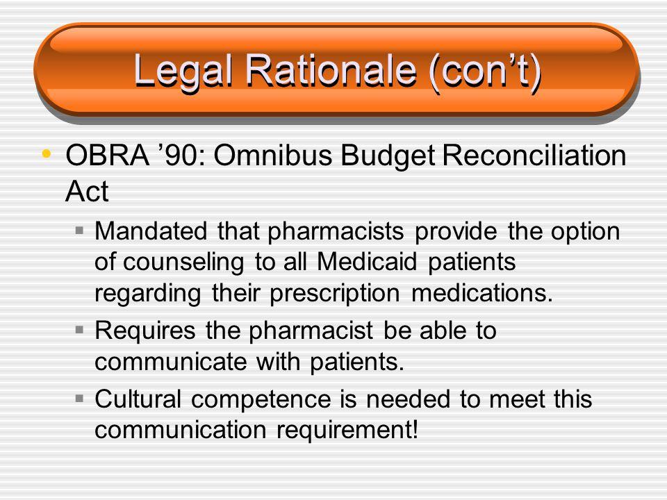 Legal Rationale (con't)