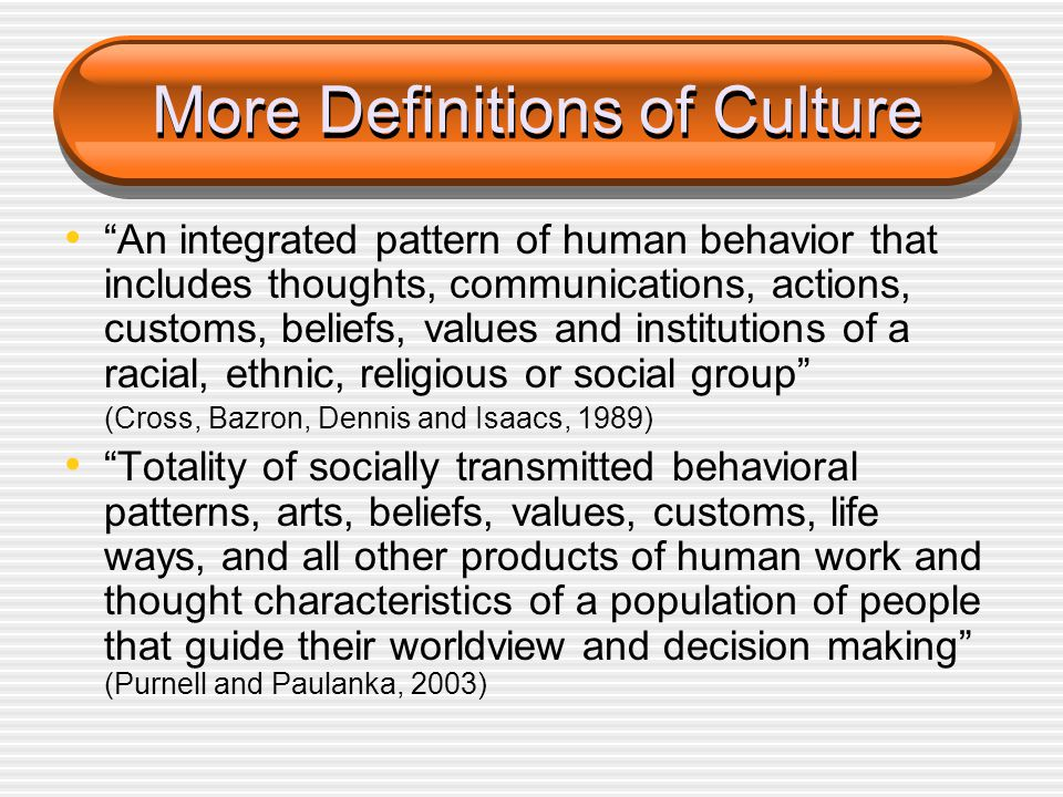 More Definitions of Culture