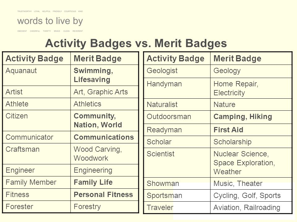 Activity Badges vs. Merit Badges