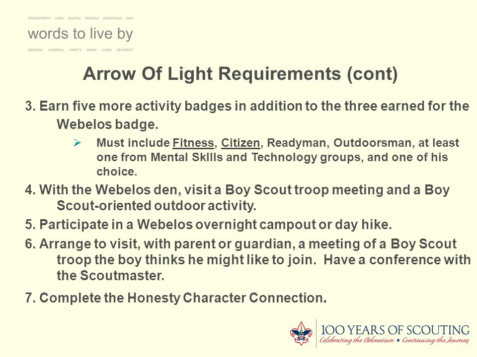 Arrow Of Light Requirements (cont)