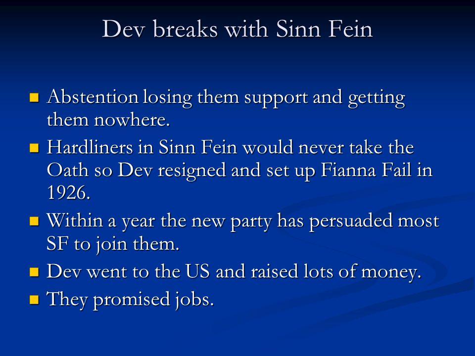 Dev breaks with Sinn Fein