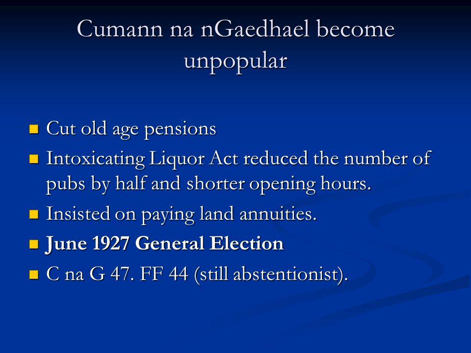 Cumann na nGaedhael become unpopular