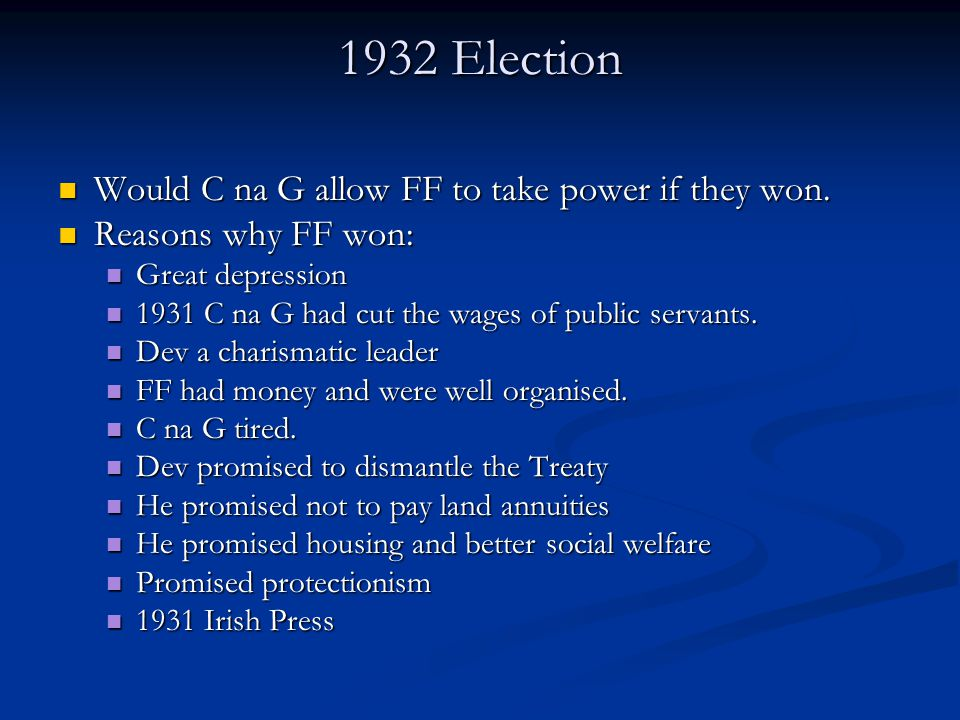 1932 Election Would C na G allow FF to take power if they won.