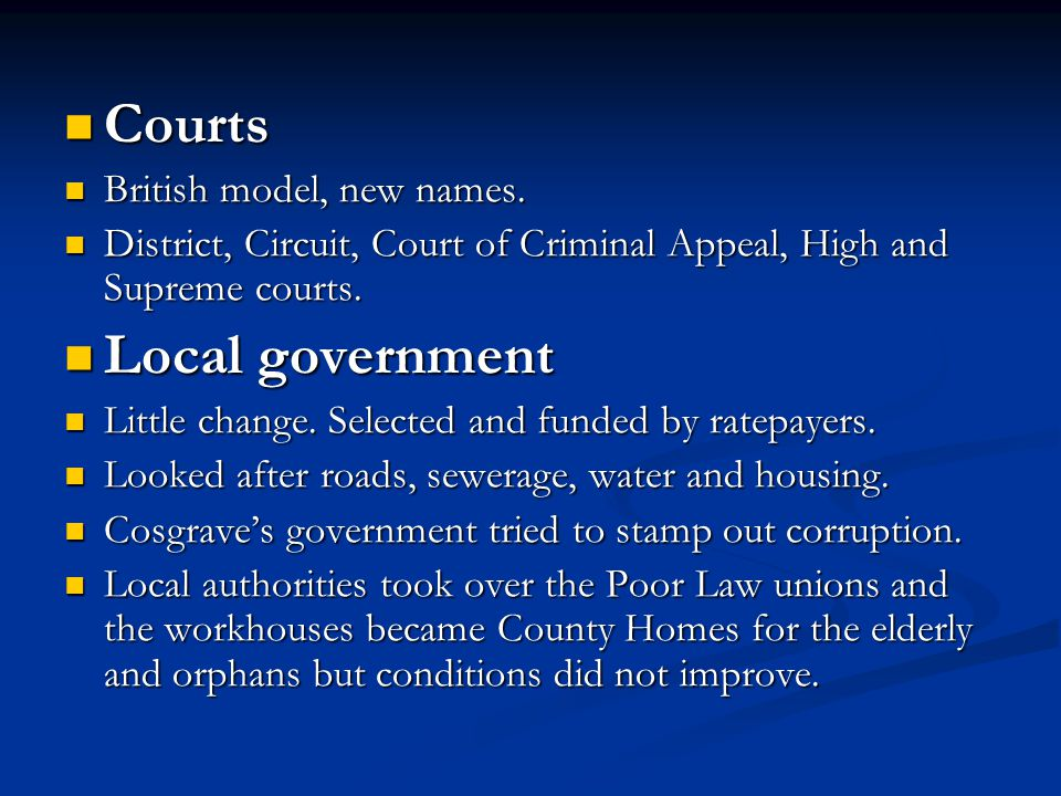 Courts Local government British model, new names.