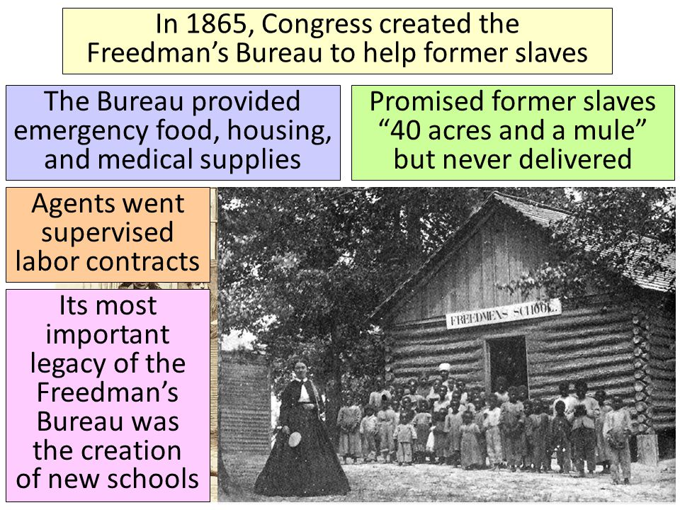 In 1865, Congress created the Freedman's Bureau to help former slaves