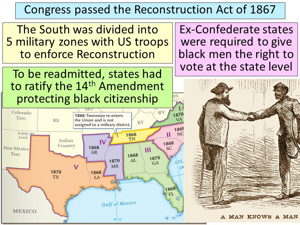 Congress passed the Reconstruction Act of 1867