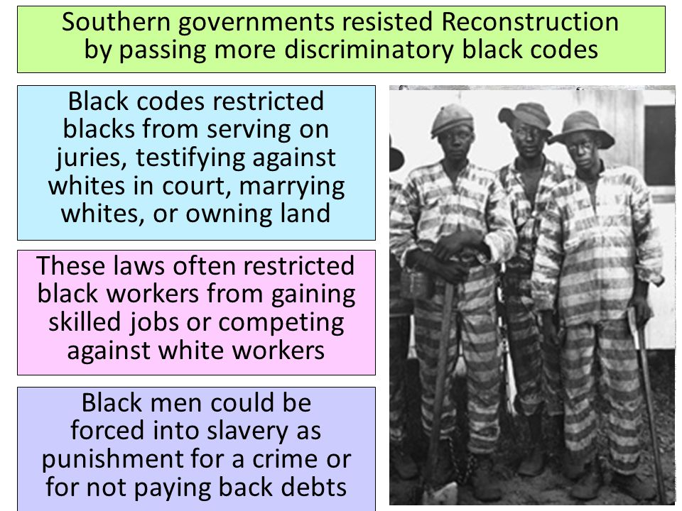 Southern governments resisted Reconstruction by passing more discriminatory black codes