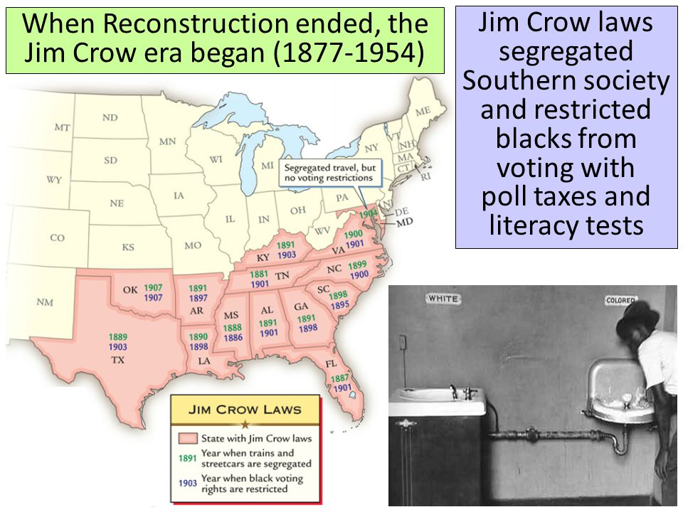 When Reconstruction ended, the Jim Crow era began (1877-1954)