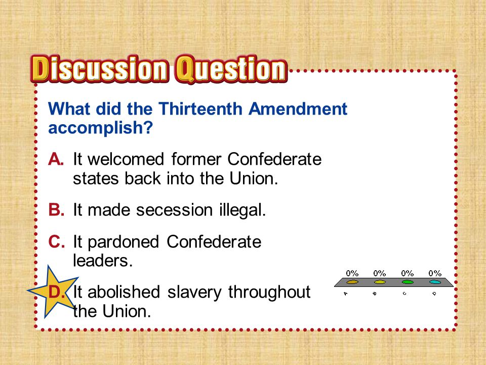 A B C D What did the Thirteenth Amendment accomplish