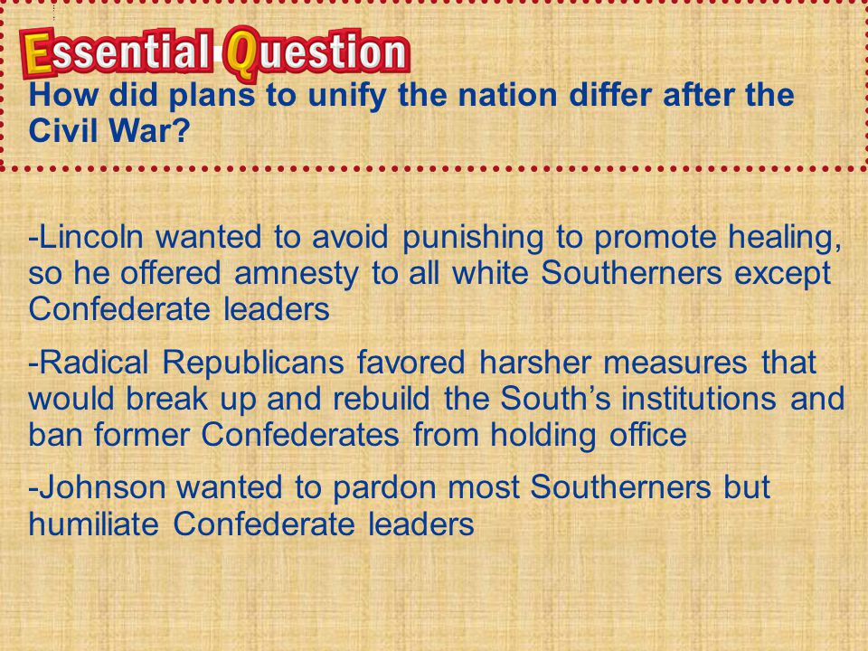 How did plans to unify the nation differ after the Civil War