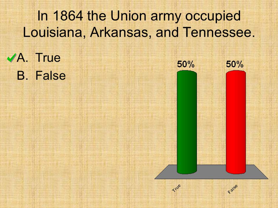 In 1864 the Union army occupied Louisiana, Arkansas, and Tennessee.