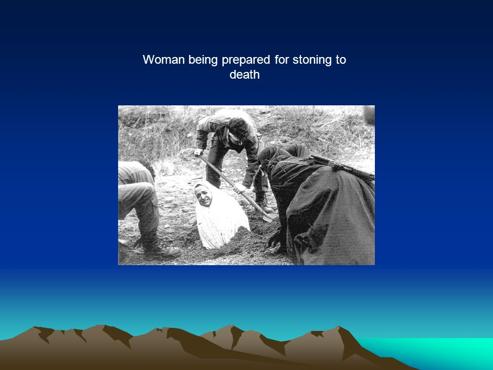 Woman being prepared for stoning to death