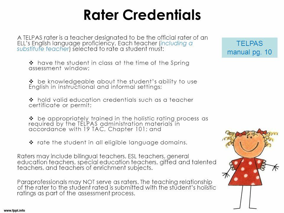 Rater Credentials TELPAS manual pg. 10