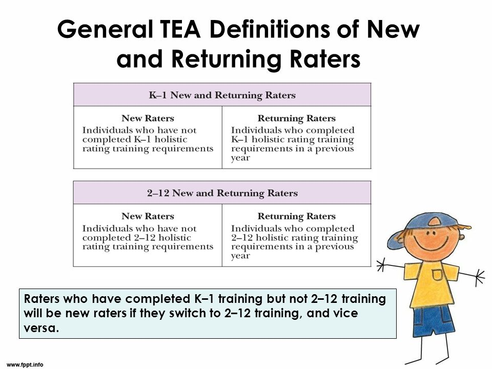 General TEA Definitions of New and Returning Raters