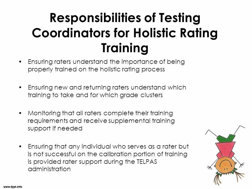 Responsibilities of Testing Coordinators for Holistic Rating Training