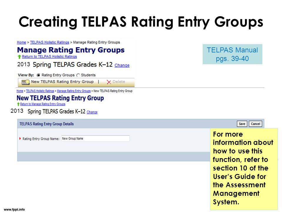 Creating TELPAS Rating Entry Groups