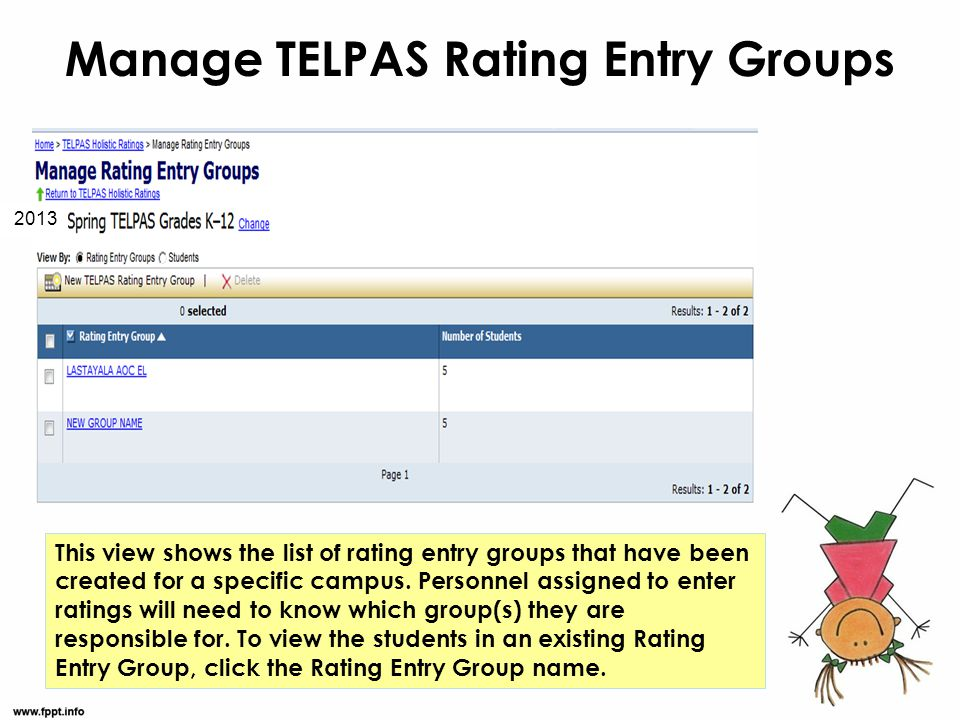 Manage TELPAS Rating Entry Groups