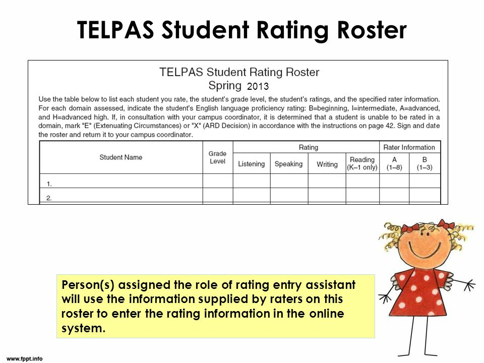 TELPAS Student Rating Roster