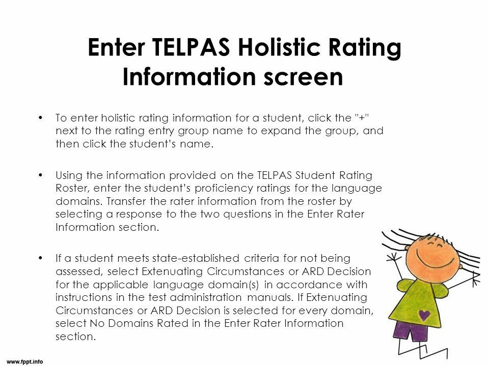 Enter TELPAS Holistic Rating Information screen