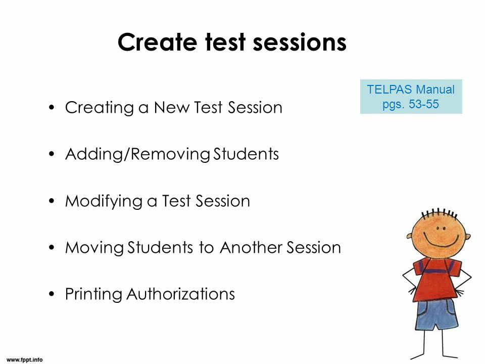 Create test sessions Creating a New Test Session