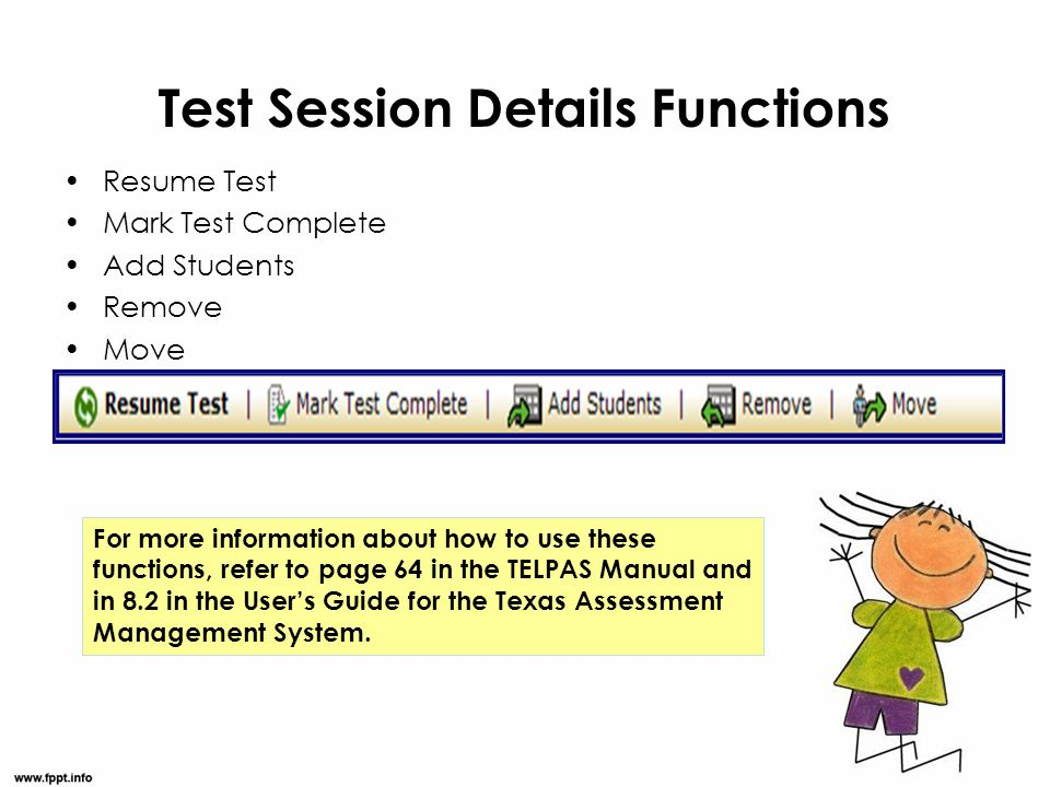Test Session Details Functions
