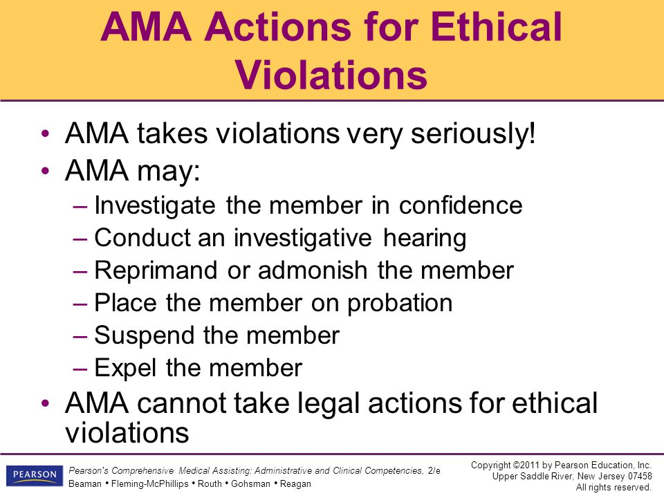 AMA Actions for Ethical Violations