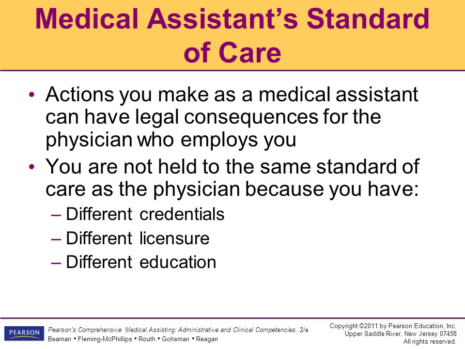 Medical Assistant's Standard of Care