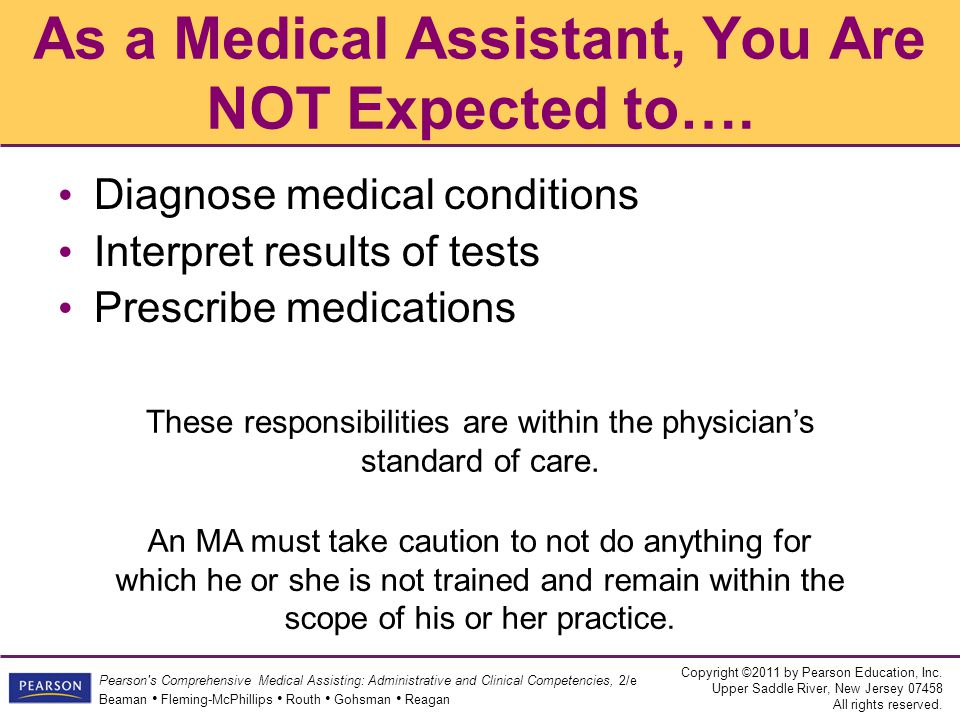 As a Medical Assistant, You Are NOT Expected to….