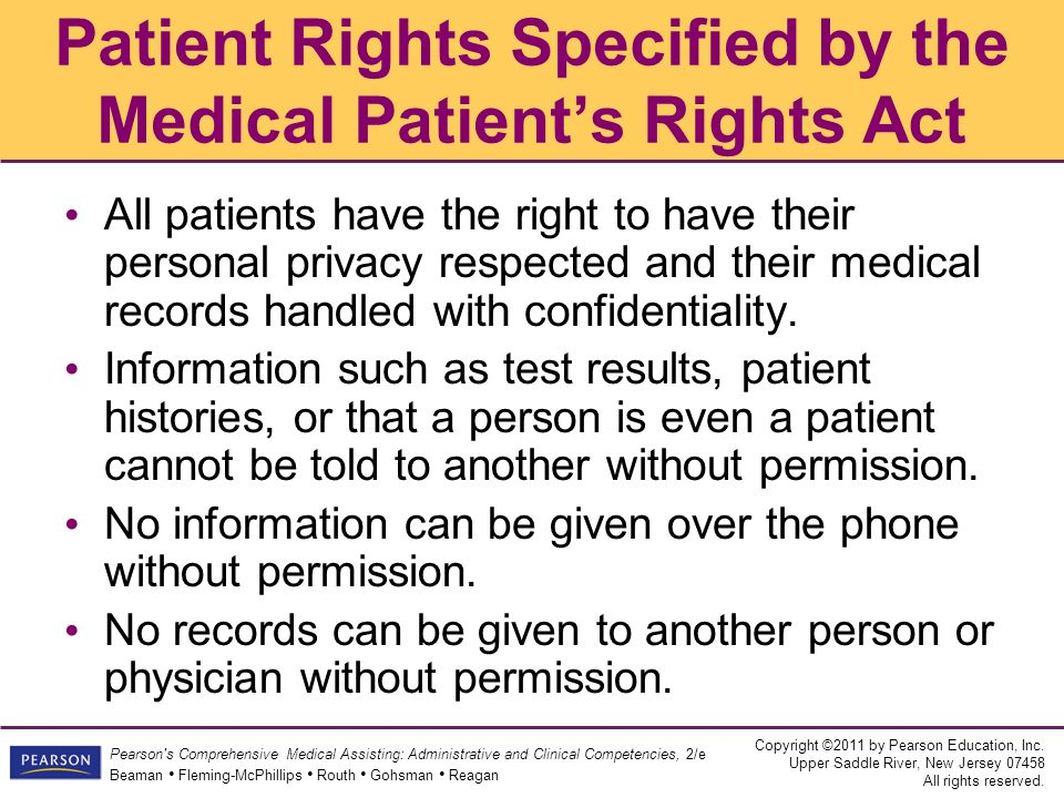 Patient Rights Specified by the Medical Patient's Rights Act