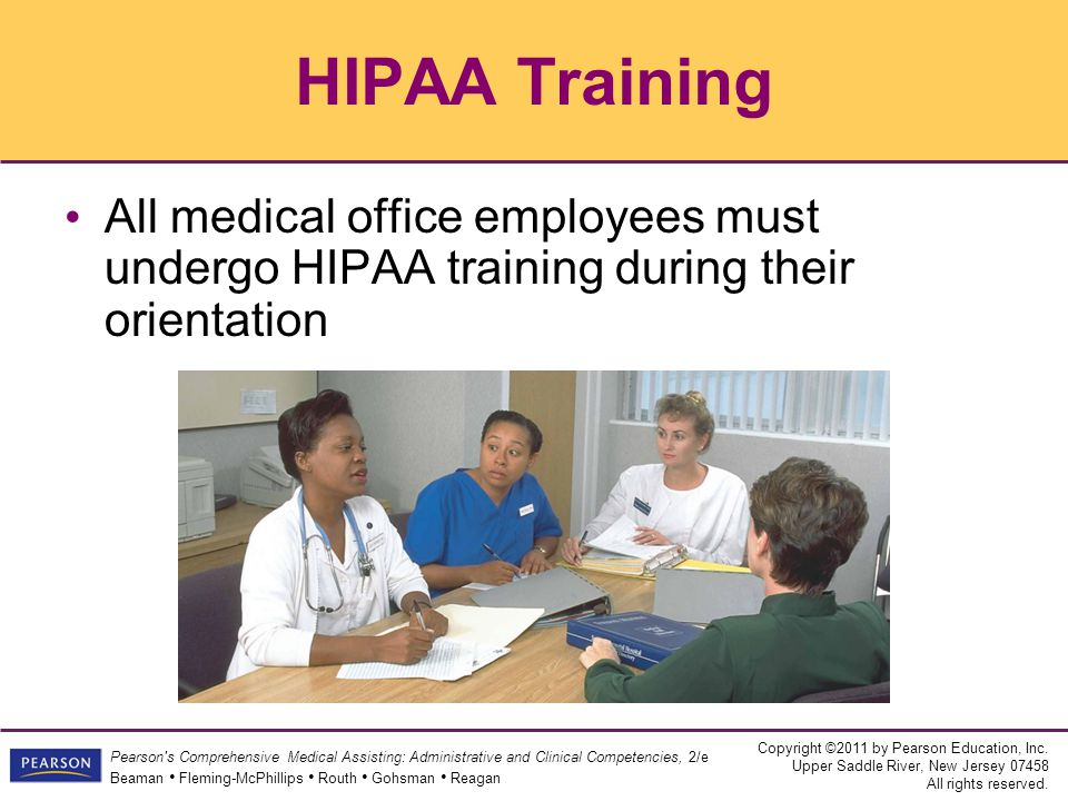 HIPAA Training All medical office employees must undergo HIPAA training during their orientation 41