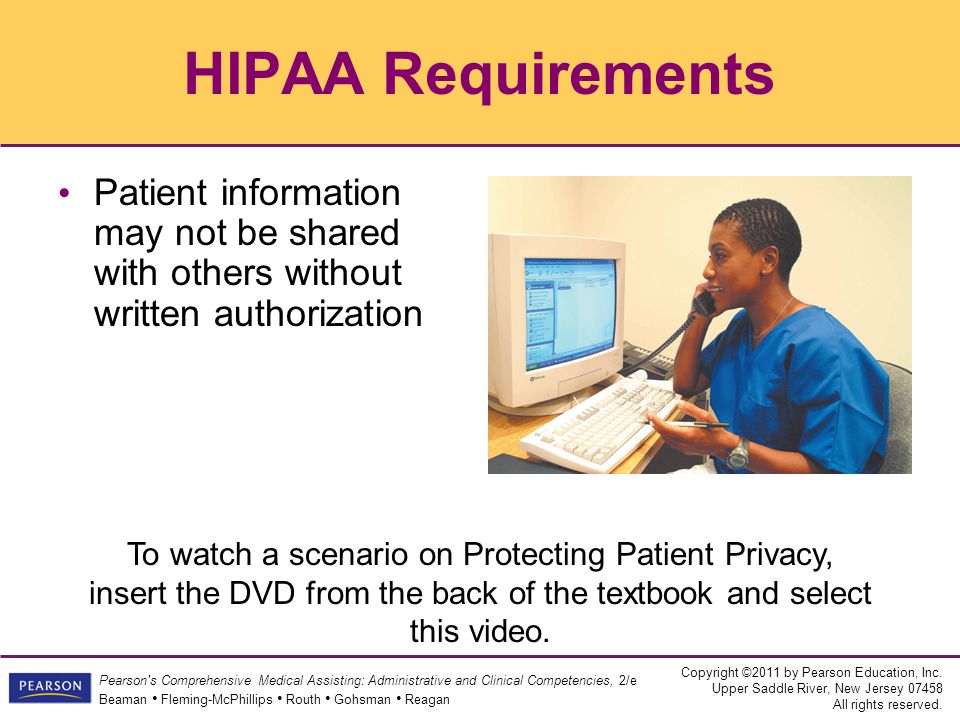 HIPAA Requirements Patient information may not be shared with others without written authorization.