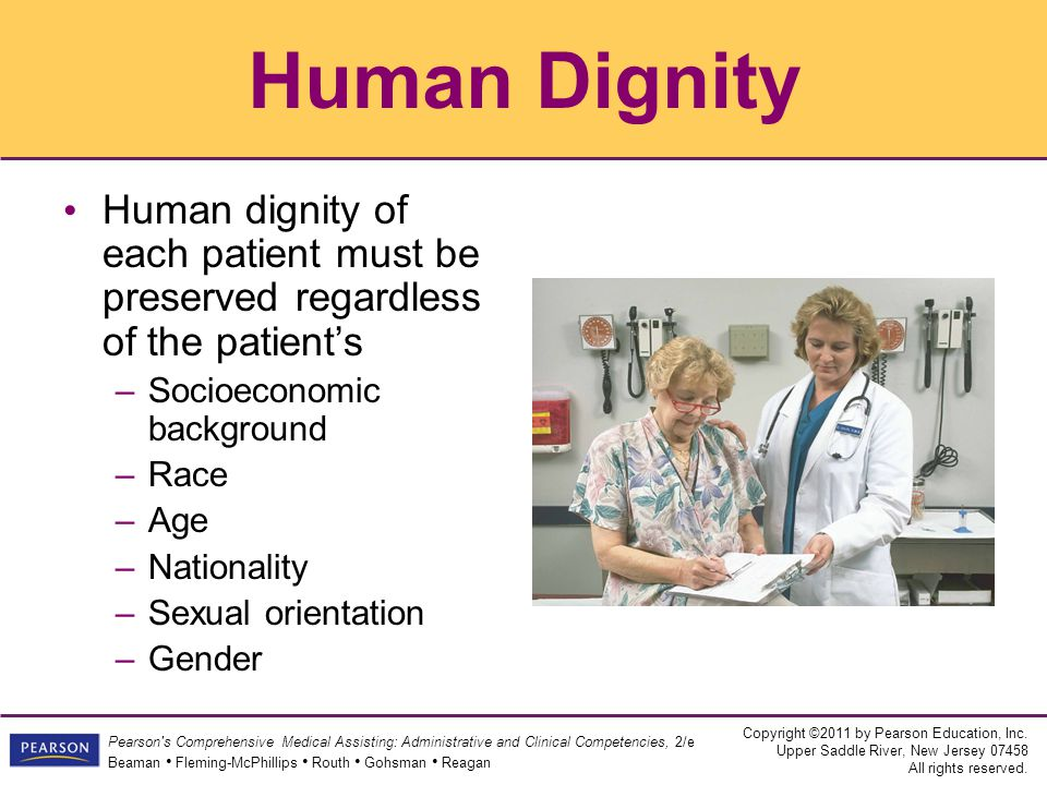 Human Dignity Human dignity of each patient must be preserved regardless of the patient's. Socioeconomic background.