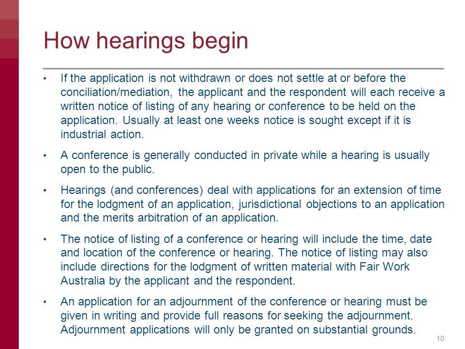 How hearings begin