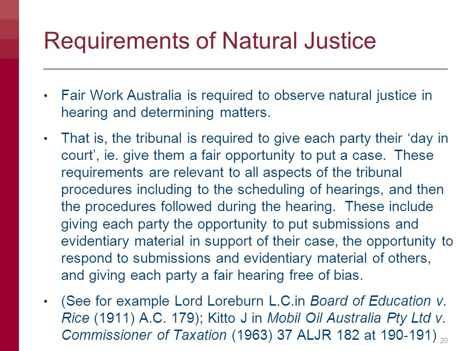 Requirements of Natural Justice