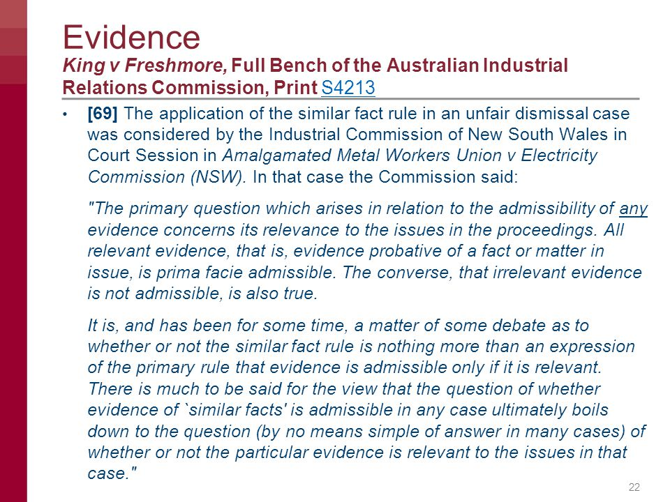 Evidence King v Freshmore, Full Bench of the Australian Industrial Relations Commission, Print S4213.