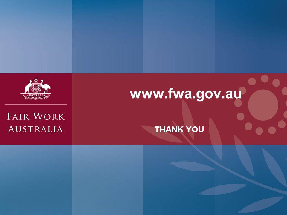 www.fwa.gov.au THANK YOU © Commonwealth of Australia — Fair Work Australia