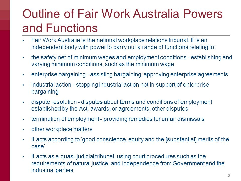 Outline of Fair Work Australia Powers and Functions