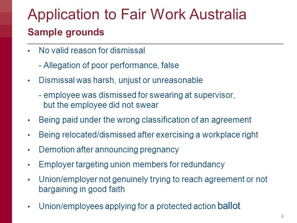 Application to Fair Work Australia