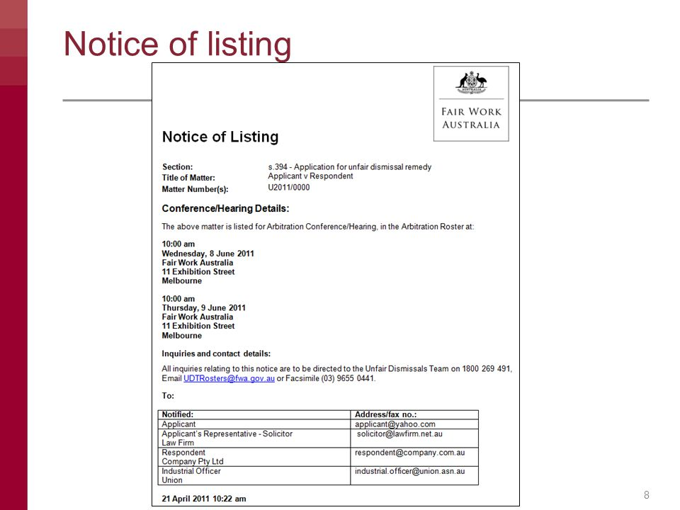 Notice of listing