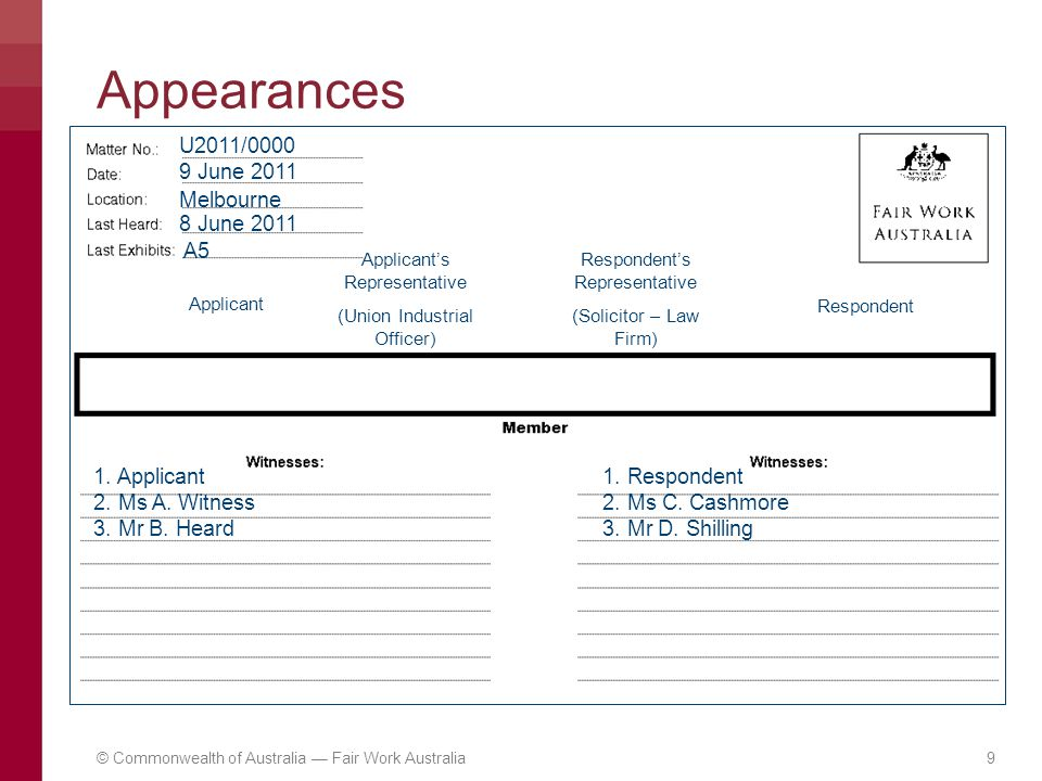 Appearances U2011/0000 9 June 2011 Melbourne A5