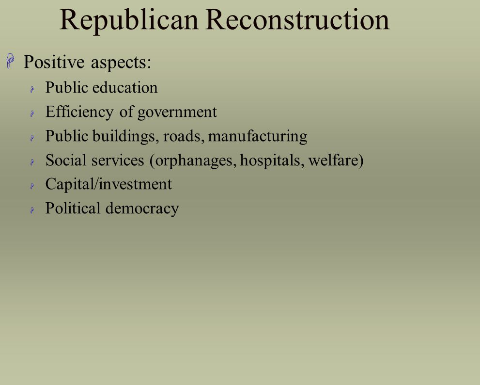 Republican Reconstruction