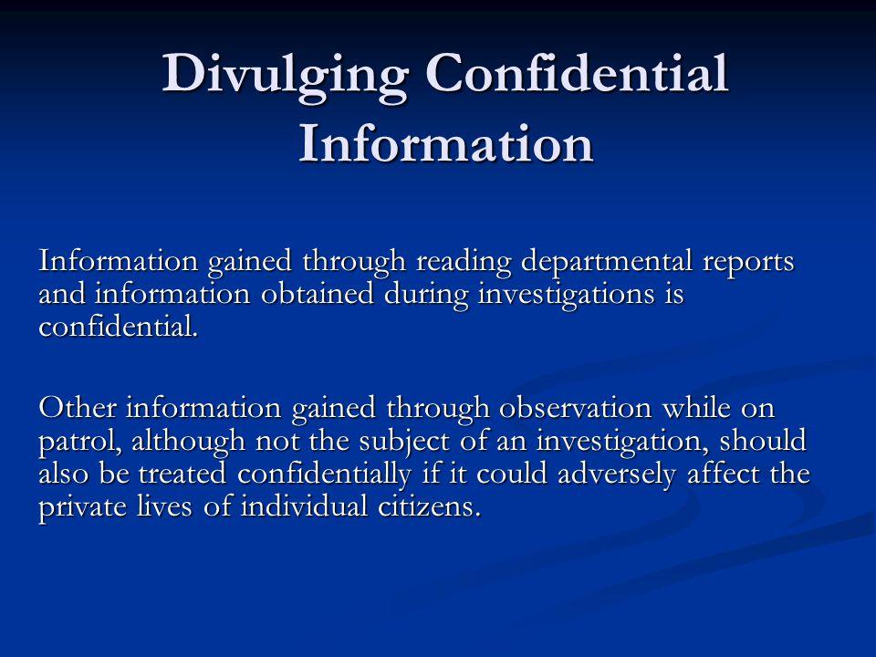 Divulging Confidential Information
